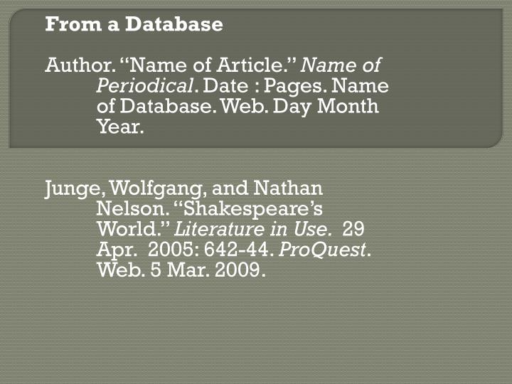 From a Database