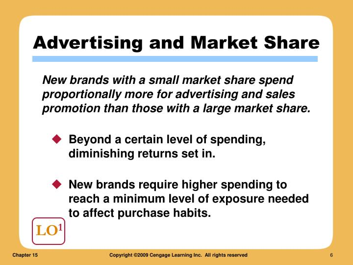 New brands with a small market share spend proportionally more for advertising and sales promotion than those with a large market share.