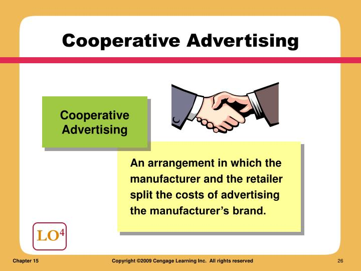 An arrangement in which the manufacturer and the retailer split the costs of advertising the manufacturer's brand.