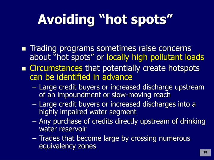 "Avoiding ""hot spots"""