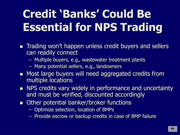 Credit 'Banks' Could Be Essential for NPS Trading