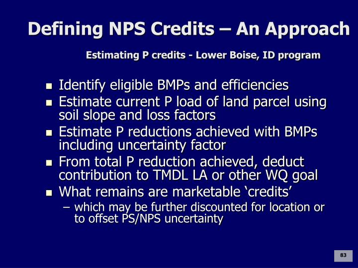 Defining NPS Credits – An Approach