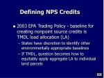 defining nps credits