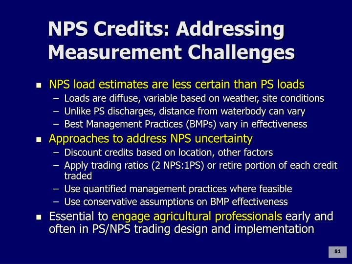NPS Credits: Addressing Measurement Challenges