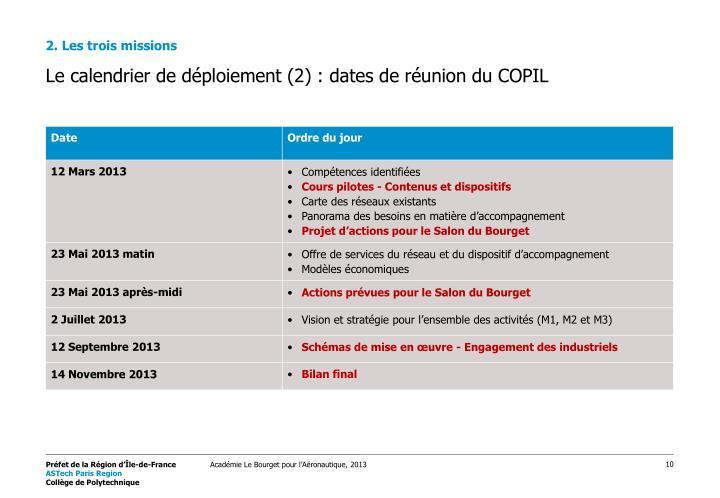Le calendrier de déploiement (2) : dates de réunion du COPIL