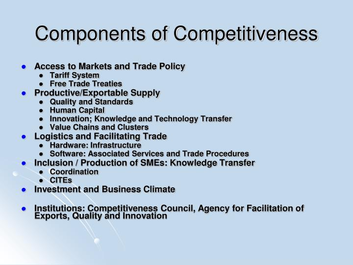 Components of competitiveness
