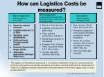 how can logistics costs be measured