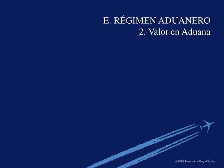 E. RÉGIMEN ADUANERO