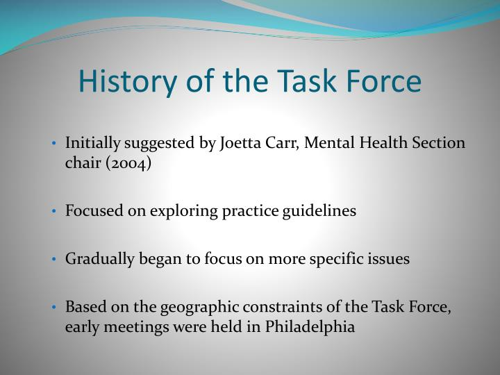 History of the Task Force