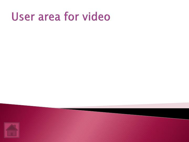 User area for video