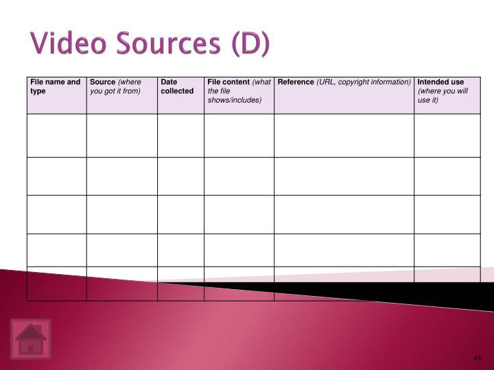 Video Sources (D)