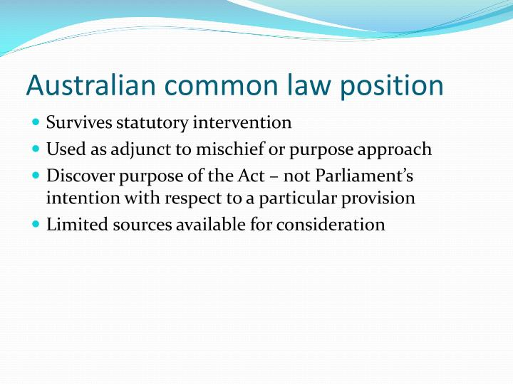 Australian common law position