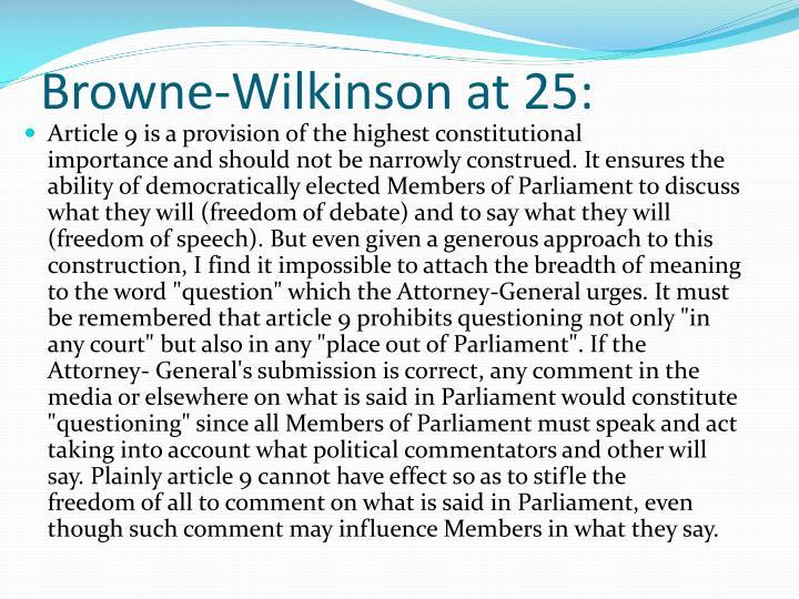 Browne-Wilkinson at 25: