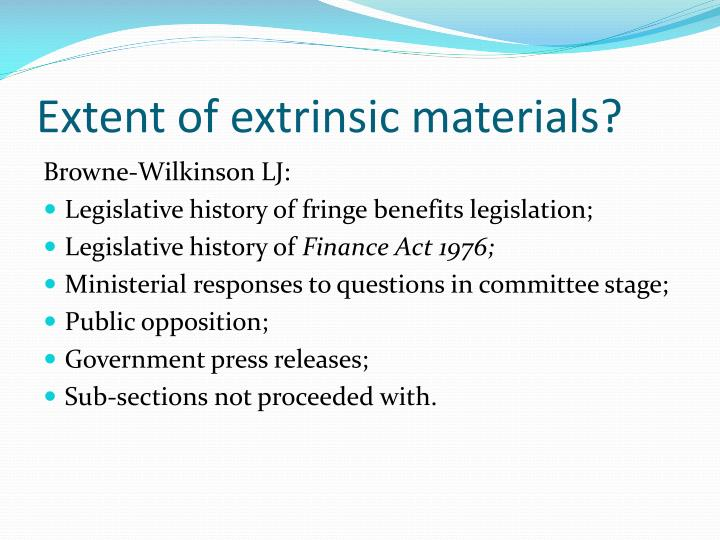 Extent of extrinsic materials?
