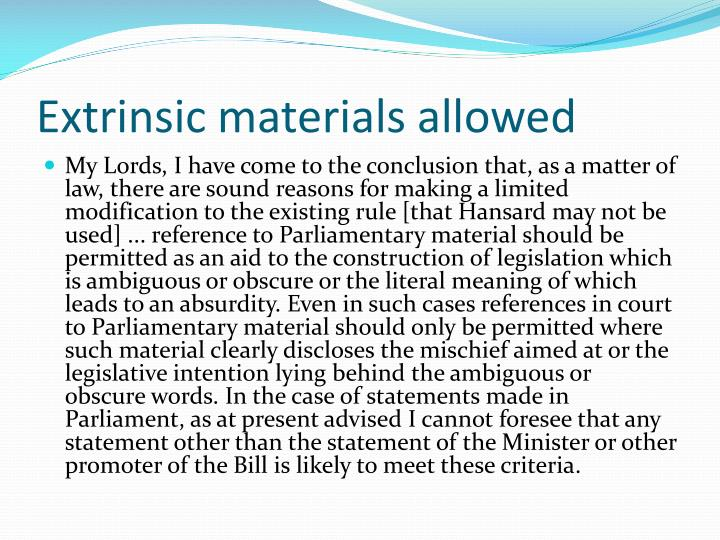Extrinsic materials allowed