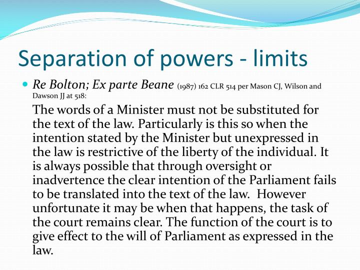 Separation of powers - limits