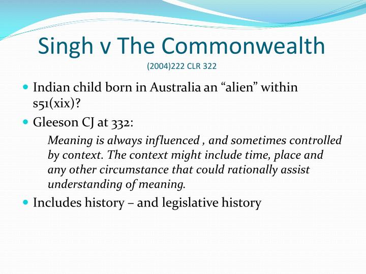 Singh v The Commonwealth