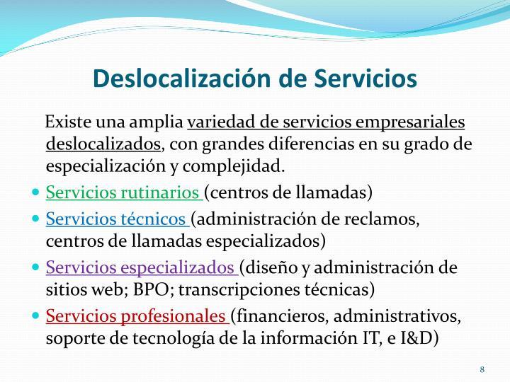 Deslocalización de Servicios