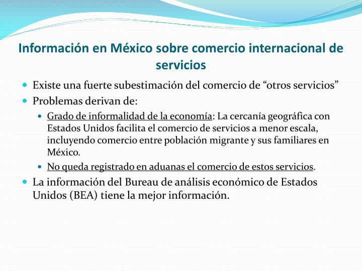 Información en México sobre comercio internacional de servicios