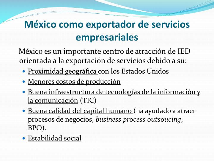 México como exportador de servicios empresariales