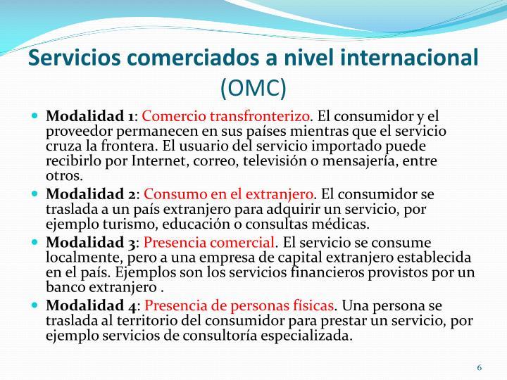 Servicios comerciados a nivel internacional