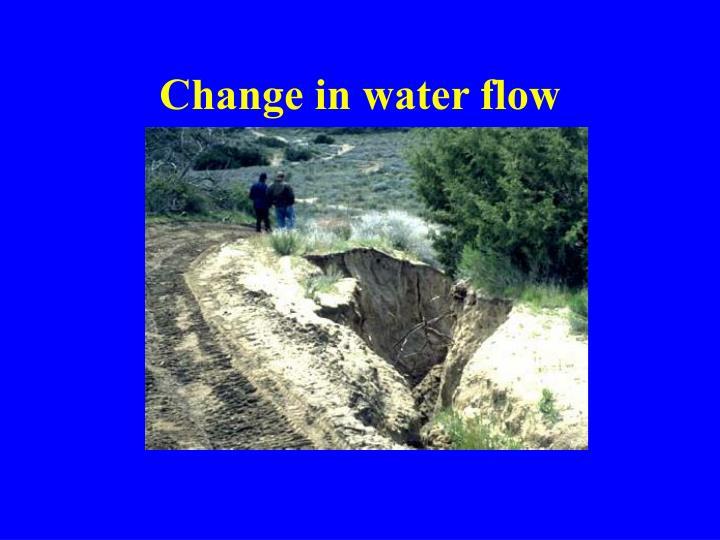Change in water flow