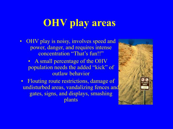 OHV play areas