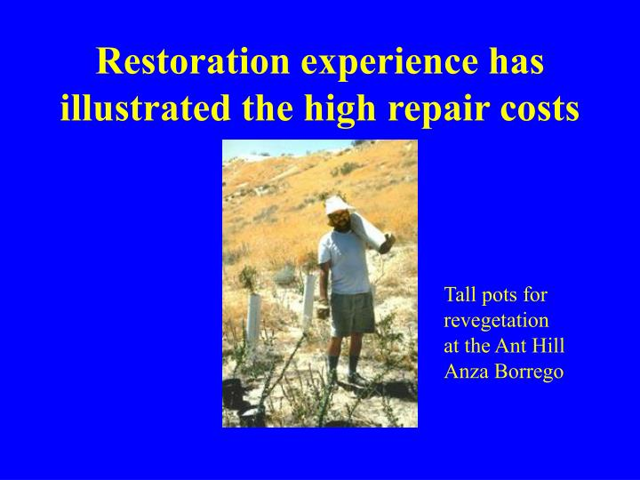 Restoration experience has illustrated the high repair costs
