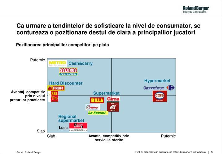 Ca urmare a tendintelor de sofisticare la nivel de consumator, se contureaza o pozitionare destul de clara a principalilor jucatori