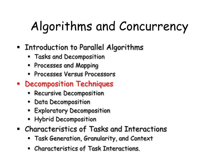 Algorithms and Concurrency