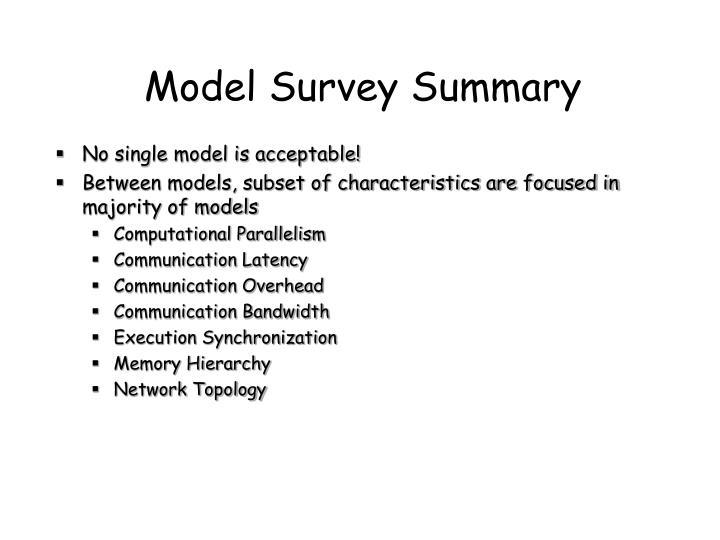 Model Survey Summary