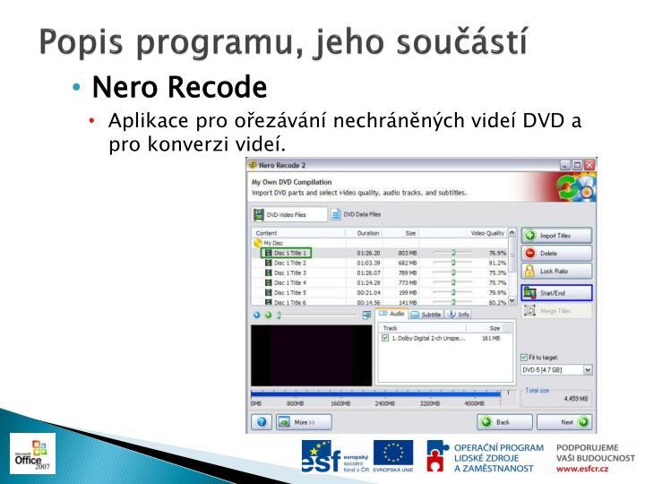 Popis programu, jeho součástí