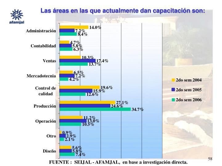 Las áreas en las que actualmente dan capacitación son: