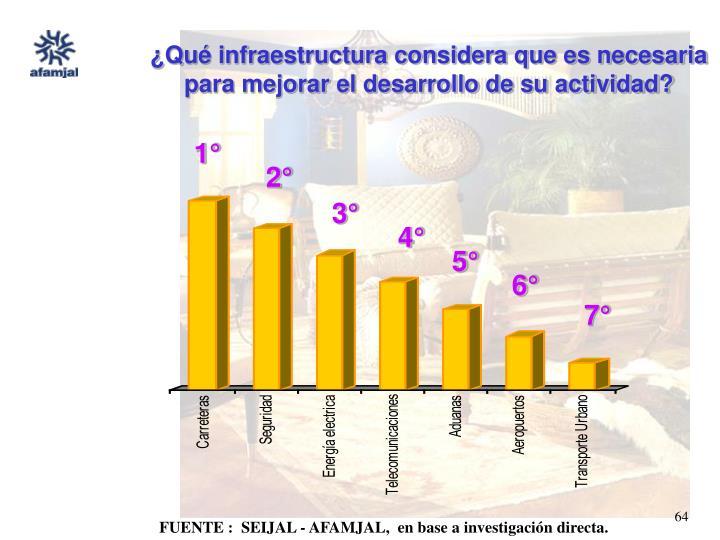 ¿Qué infraestructura considera que es necesaria para mejorar el desarrollo de su actividad?