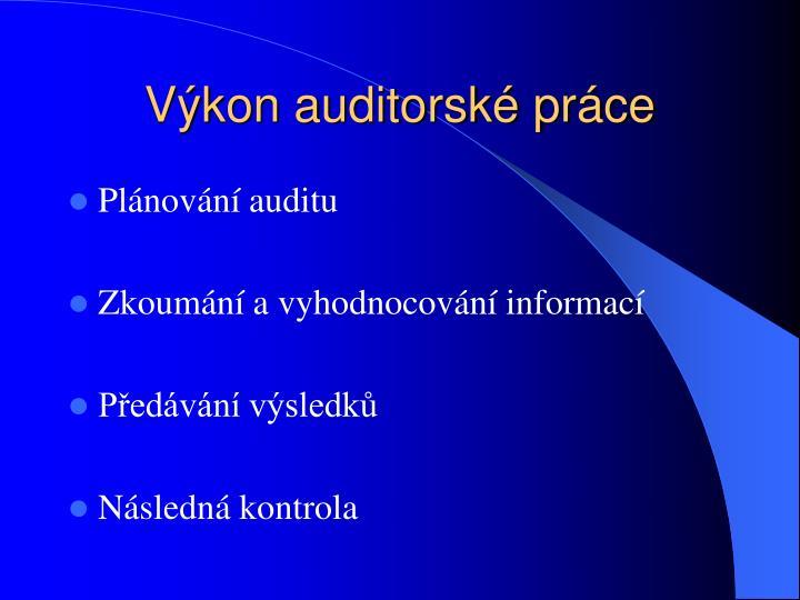 Výkon auditorské práce
