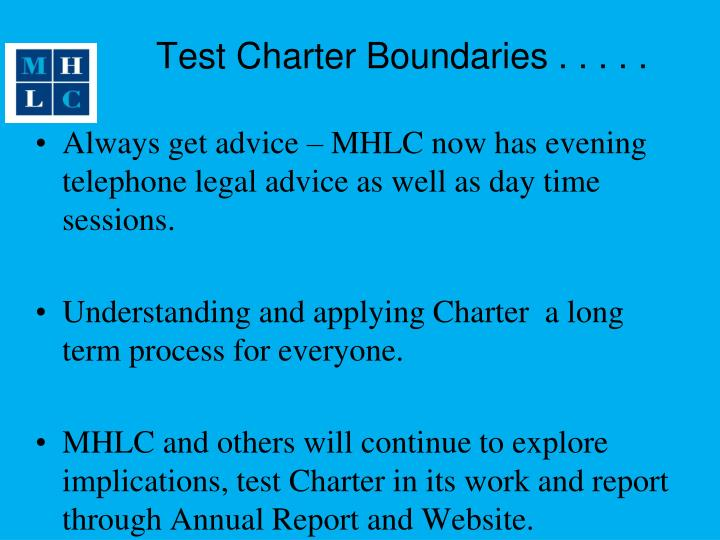 Test Charter Boundaries . . . . .