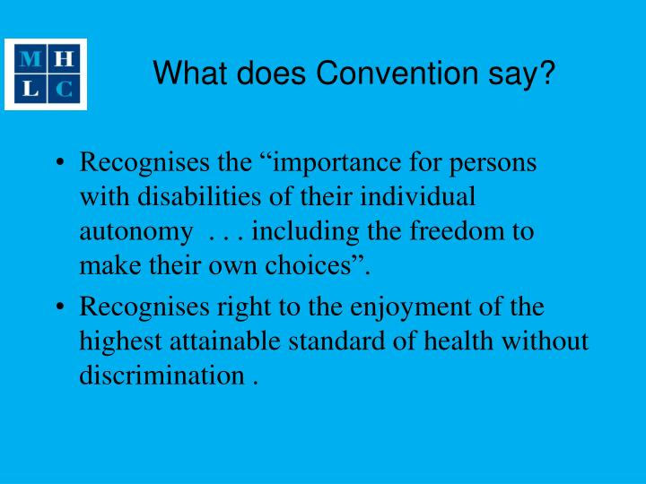 What does Convention say?