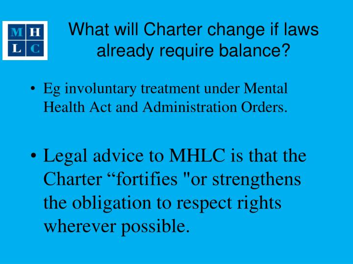 What will Charter change if laws already require balance?