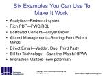 six examples you can use to make it work1