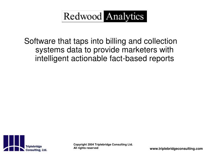 Software that taps into billing and collection systems data to provide marketers with intelligent actionable fact-based reports