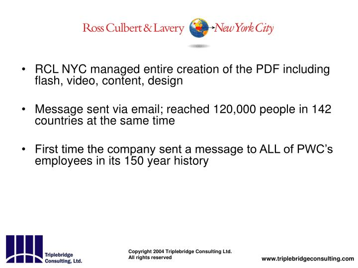 RCL NYC managed entire creation of the PDF including flash, video, content, design