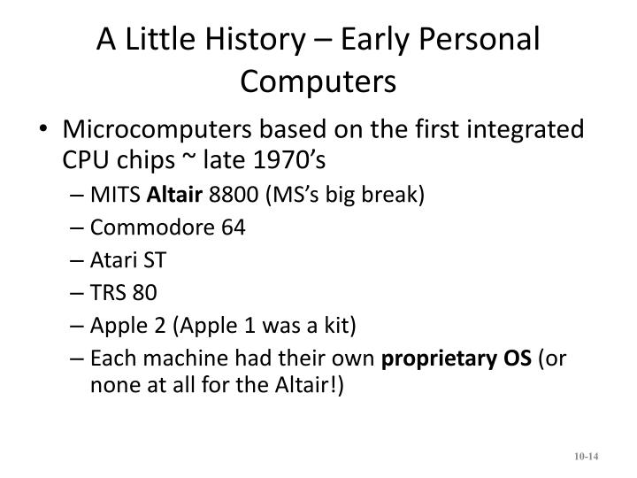 A Little History – Early Personal Computers