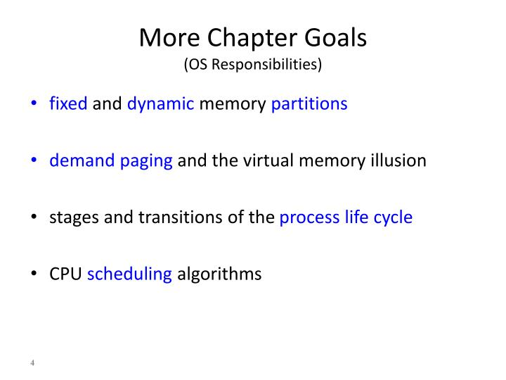 More Chapter Goals