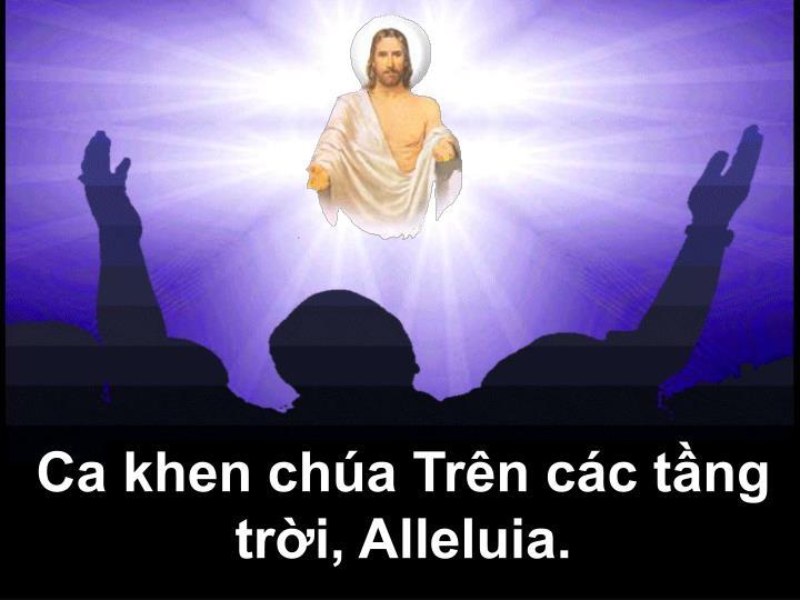 Ca khen chúa Trên các tầng trời, Alleluia.
