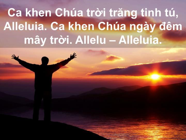 Ca khen Chúa trời trăng tinh tú, Alleluia. Ca khen Chúa ngày đêm mây trời. Allelu – Alleluia.
