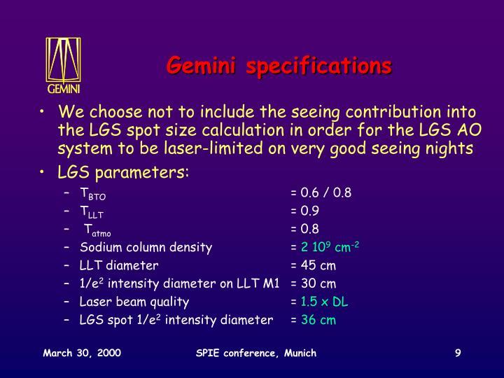 Gemini specifications