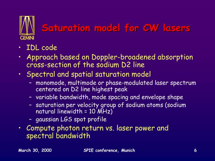 Saturation model for CW lasers