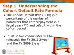 step 1 understanding the cohort default rate formula