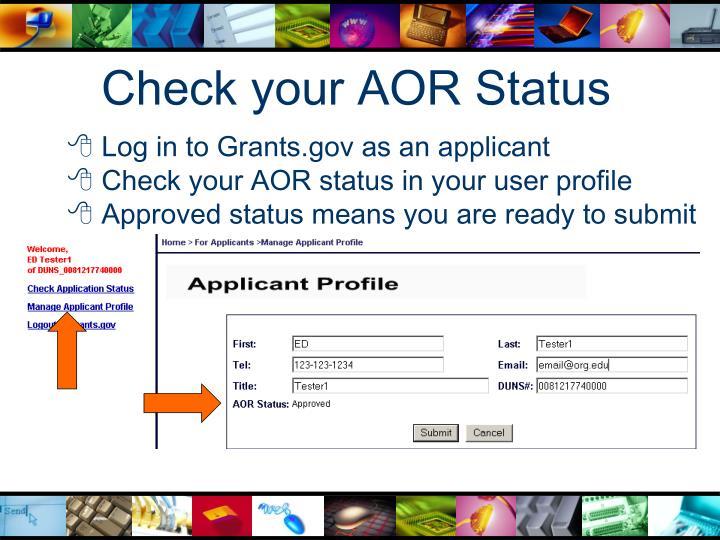 Check your AOR Status