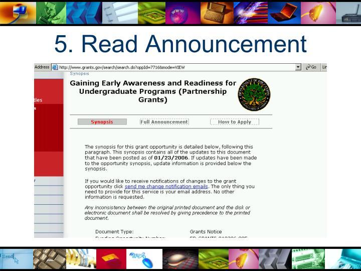 5. Read Announcement